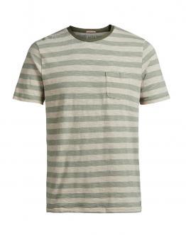 JACK & JONES Jjvryton SS Tee Crew Neck Sea Grass T-Shirt Beige Rigata Verde Con Taschino 12117731 - Beige