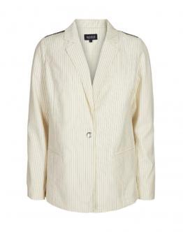 DESIRES Blazer Giacca Virgil 2 Dettagli Nero Design Gessato White Swan Bianco 9199109 - White