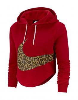NIKE Felpa Hoodie Crop Animalier Rossa AV6166657 - Rossa