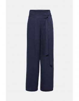 ESPRIT Pantalone Palazzo Wide Lyocell Trousers With Waist Pleats Navy Blu 029EE1B049 - Blu