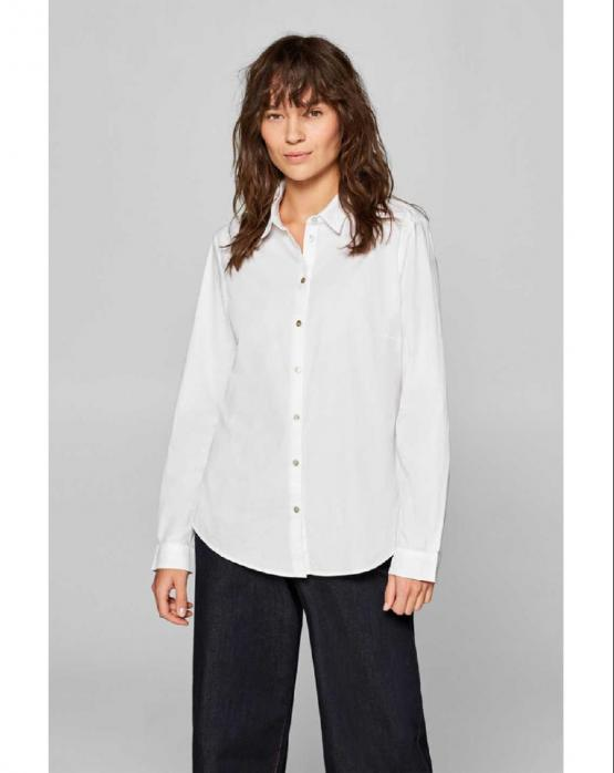 ESPRIT Camicia Stretch Blouse With Organic Cotton White Bianco 029EE1F018 - White