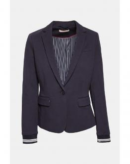 ESPRIT Giacca Fitted Jersey Blazer With Ribbed Cuffs Navy Blu 029EE1G007 - Blu