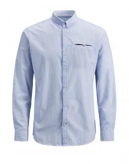 JACK & JONES Paris Shirt Dettagli Microrighe Cashmere Blu Celeste 12151960 - Celeste