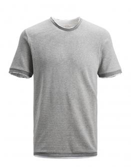 JACK & JONES Orrix Knit Ss Crew Neck Grey Melnage Grigio 12156582 - Grigio