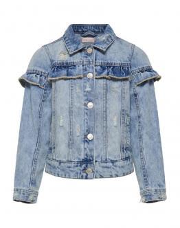 ONLY KIDS Bambina Giubbino Jeans Konsiw Frill 15178271 - Denim chiaro