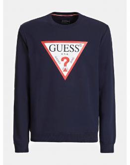 GUESS Felpa Sweater Girocollo Maxi Logo Navy Blu M02Q37K6ZS0G720 - Blu