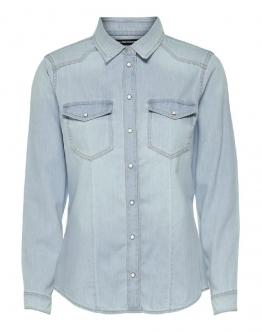 ONLY Onlrockit Life Denim Shirt Camicia Light Denim Blue 15195898 - Denim chiaro