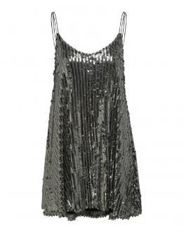 ONLY Onqpilar Short Strap Dress Abito Corto Silver Argento 15203498 - Argento