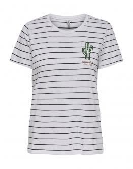 ONLY OnlKita Life Cactus Top T-Shirt Righe Blu Slim White Bianca 15203523 - Bianca