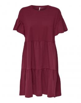 ONLY Onlmay new Life Cutline Dress Cotone Pomegnate Rosso 15211878 - Rossa