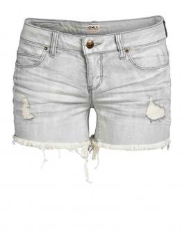 ONLY Coral Low Denim Shorts Gray Pantaloncini Donna Jeans Grigio Strappati 15075988 - Grigio