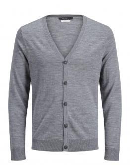 JACK & JONES Cardigan Jprmark Knit Finest Merino Wool Grey Melange Grigio 12113634 - Grigio