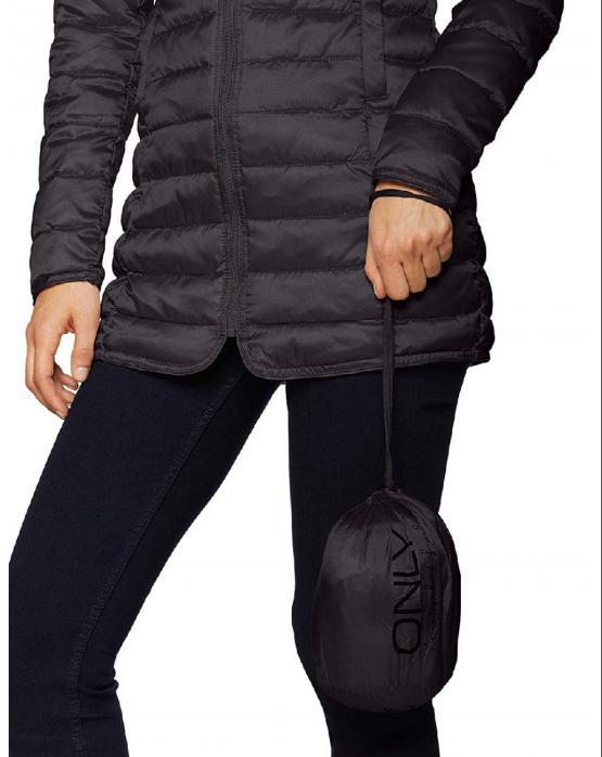 sports shoes f0840 2dca5 ONLY Tahoe Shimmer Coat Piumino Lungo Phantom Nero 15156567 ...
