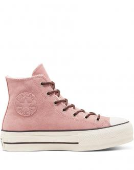 CONVERSE Womens Sherpa Chuck Taylor All Star Platform High Top Rust Pink Rosa 566566C - Rosa