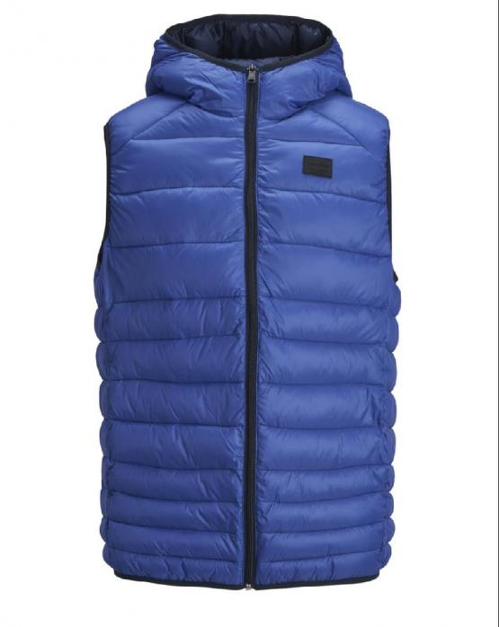 JACK & JONES Bomb Body Warmer Hood Smanicato Surf The Web Blu Elettrico 12156213 - Royal