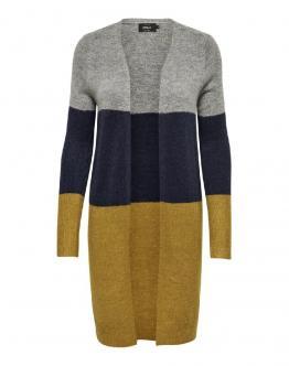 ONLY Meredith Cardigan Wool Knit Lungo Chal Tea Grigio Blu Ocra 15140675 - Ocra
