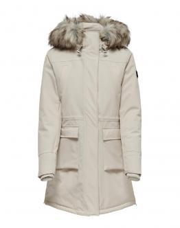 ONLY New Sally Long Nylon Coat Cappotto Lungo Moonbeam Panna 15160017 - Panna