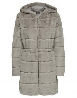 ONLY Chris Fur Hooded Coat Giacca Pelliccia Sintetica Ash Grigio Perla 15180328 - Beige