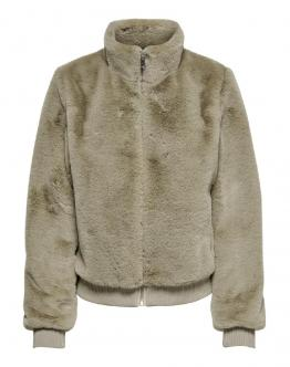 ONLY Laura Faux Fur Bomber Giacca Nomad Sabbia 15180348 - Beige